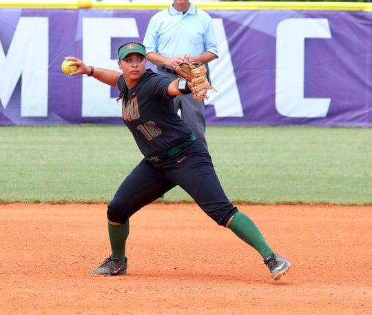 FAMU infielder Seriah Brokenborough makes a throw to first base in the 2019 MEAC Softball Tournament.
