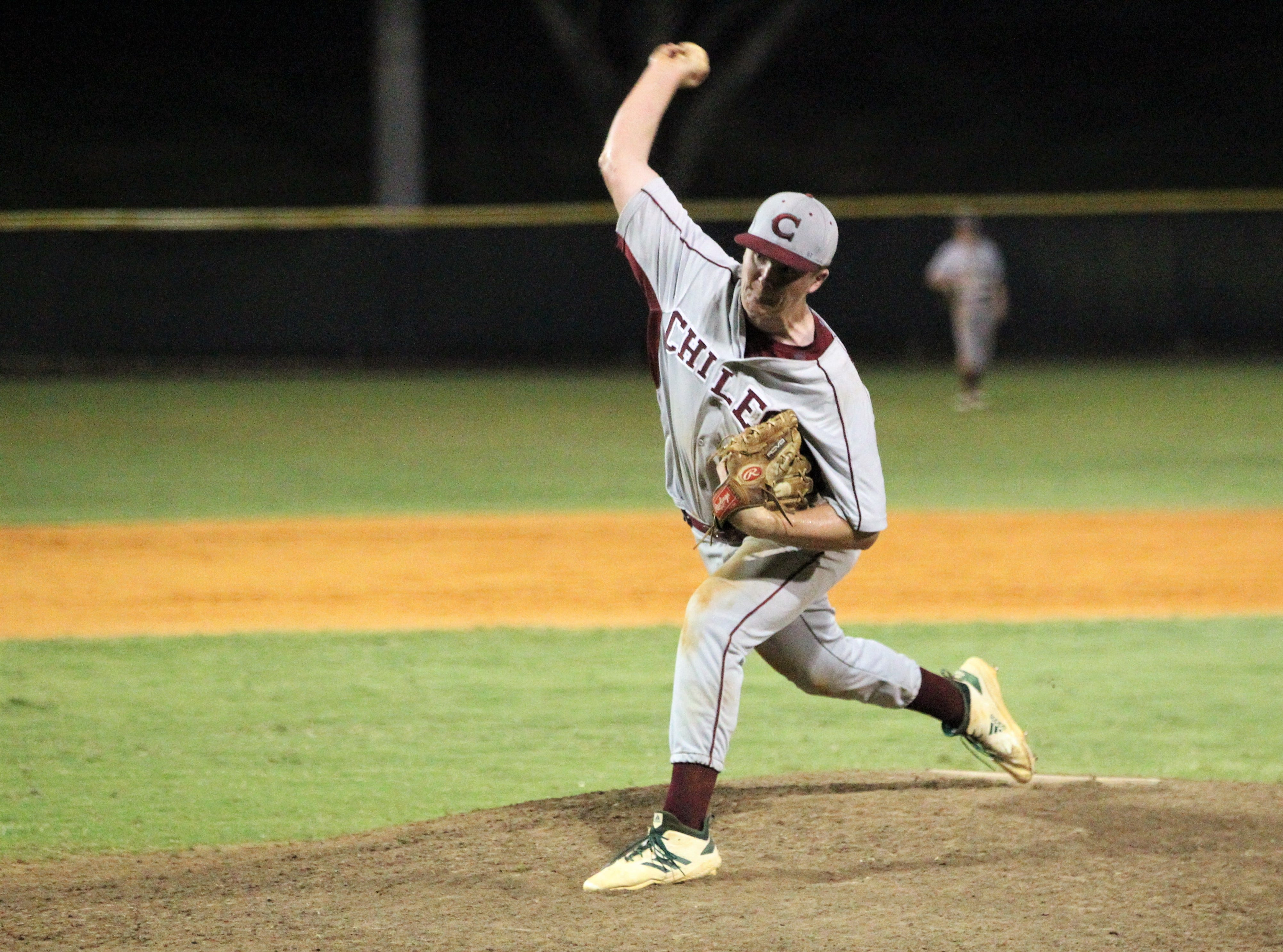 Chiles junior Wyatt Dodd pitches as Lincoln baseball beat Chiles 5-4  in 10 innings during a District 2-8A championship game on Thursday, May 9, 2019.