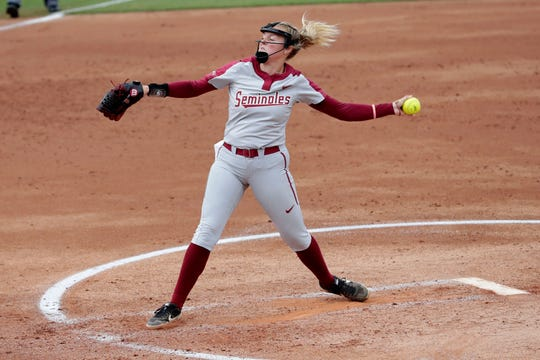 Florida State Seminoles starting pitcher Meghan King (48) pitches a strike. The Florida State Seminoles host the Notre Dame Fighting Irish for the ACC Softball Tournament semifinals Friday, May 10, 2019.
