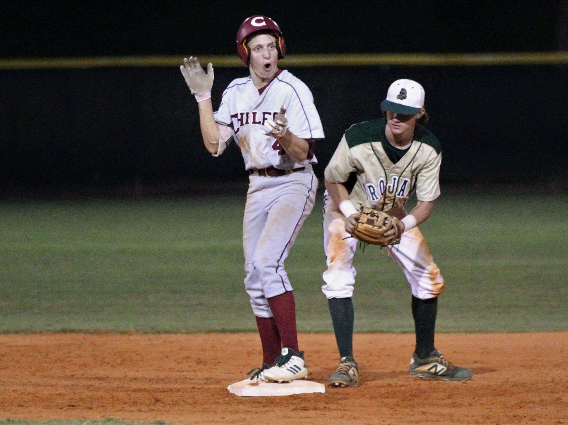 Chiles esnior Zach Holcomb reacts to hitting a double as Lincoln baseball beat Chiles 5-4  in 10 innings during a District 2-8A championship game on Thursday, May 9, 2019.