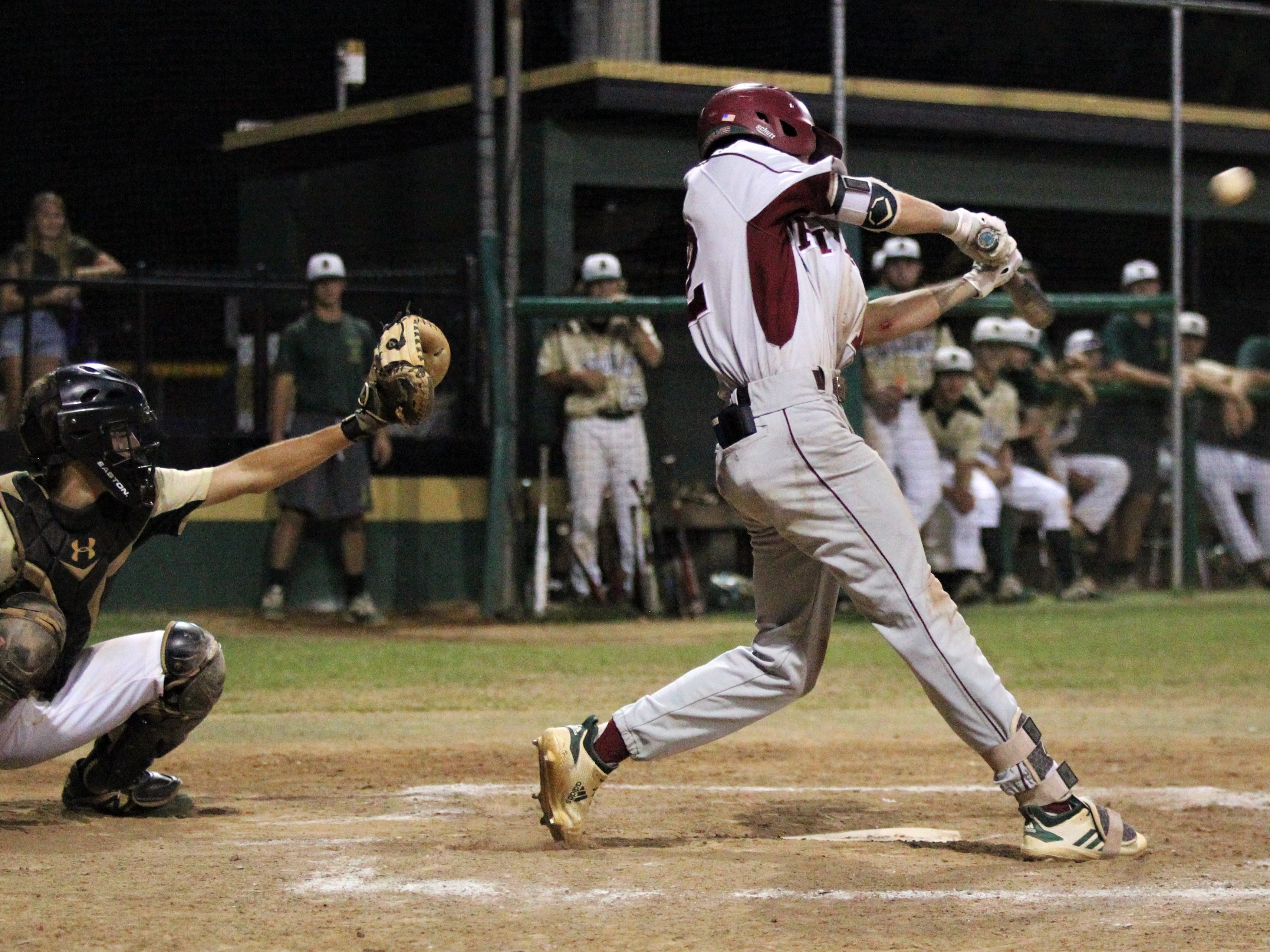 Chiles freshman Jaxson West drives a ball to center for a sac fly as Lincoln baseball beat Chiles 5-4  in 10 innings during a District 2-8A championship game on Thursday, May 9, 2019.