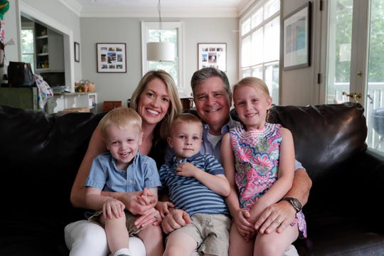 Eva and Wiley Horton with their children James, 2, left, Charlie, 4 and Eliza, 6 at their Tallahassee home Thursday, May 9, 2019.