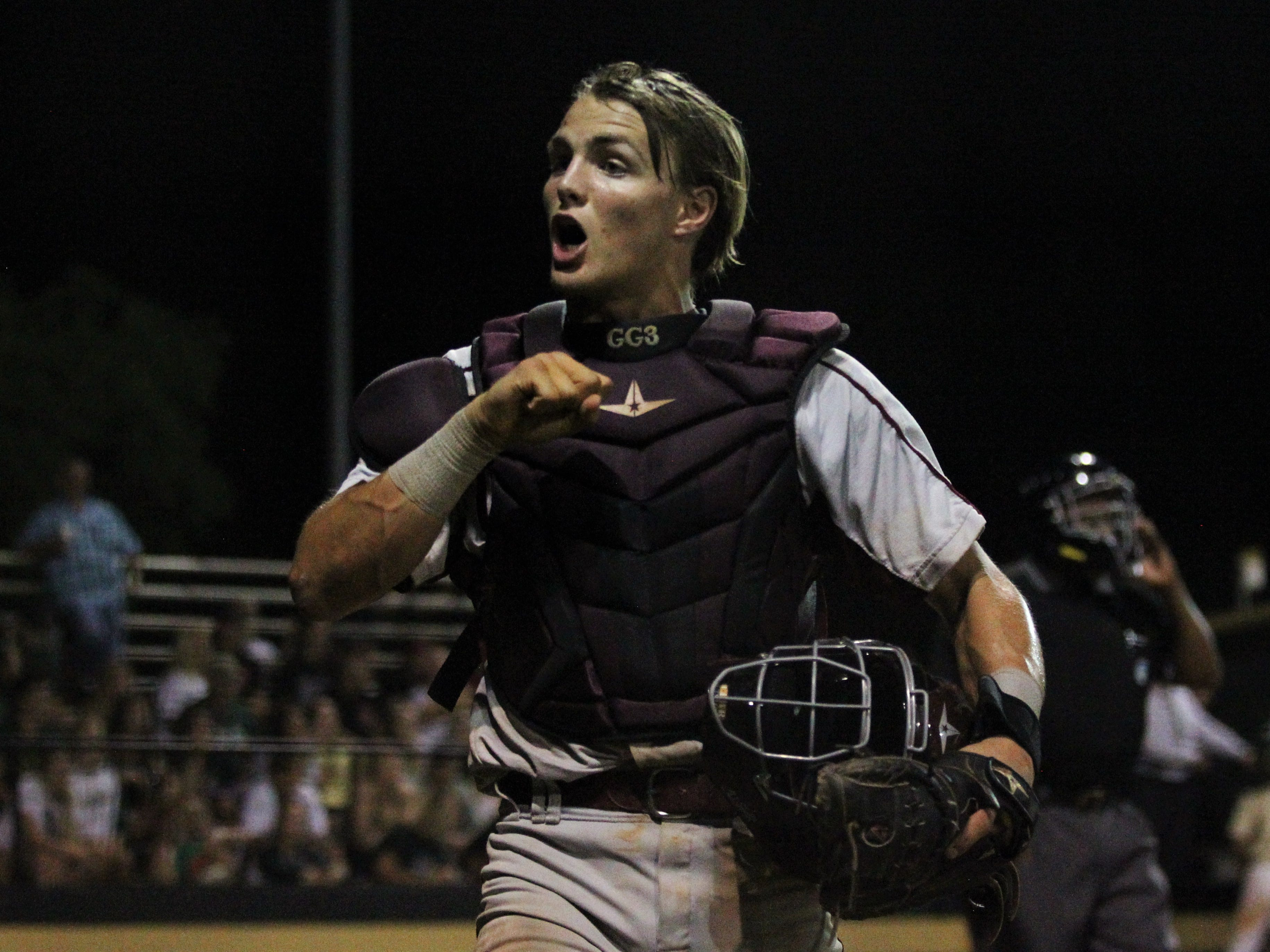 Chiles catcher Garrett Greene reacts after an inning-ending strikeout as Lincoln baseball beat Chiles 5-4  in 10 innings during a District 2-8A championship game on Thursday, May 9, 2019.