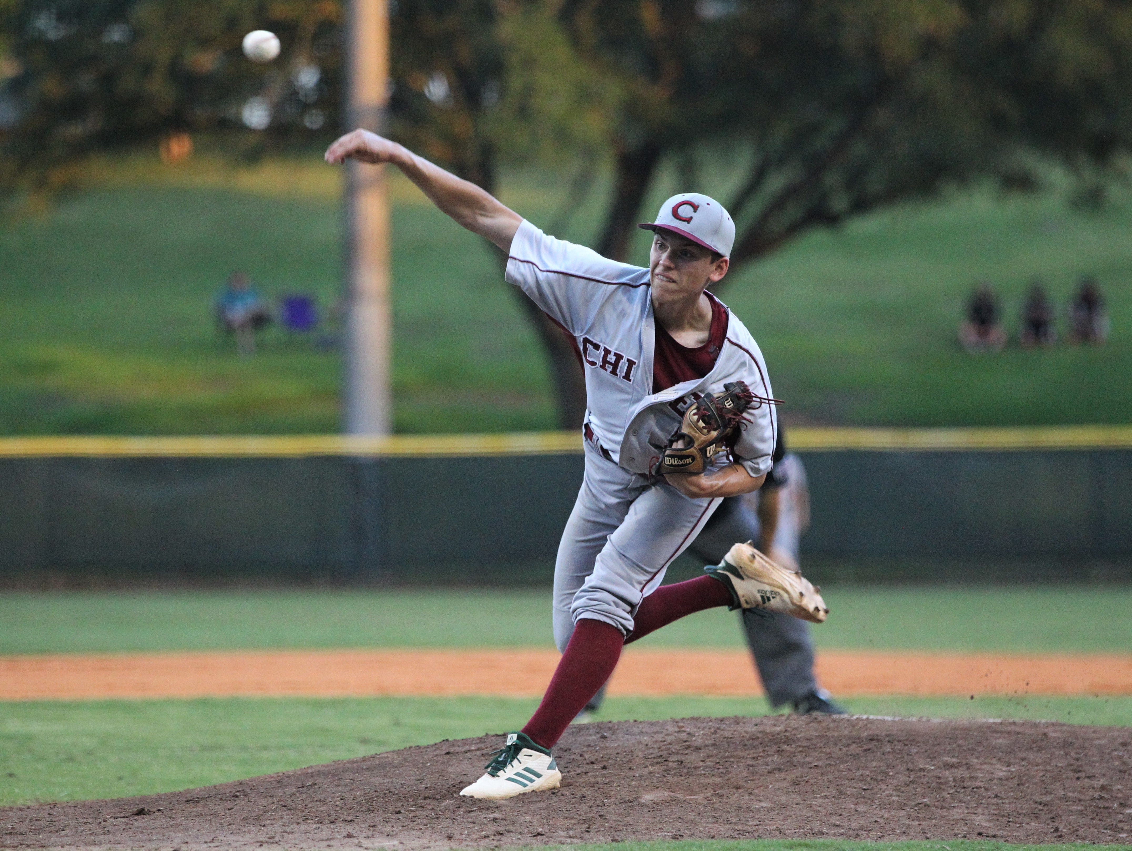 Chiles senior Ben Gurley pitches as Lincoln baseball beat Chiles 5-4  in 10 innings during a District 2-8A championship game on Thursday, May 9, 2019.