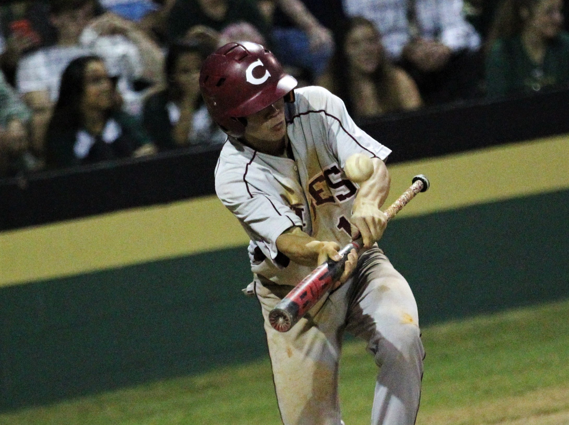 Chiles freshman Parker McDonald lays down a bunt as Lincoln baseball beat Chiles 5-4  in 10 innings during a District 2-8A championship game on Thursday, May 9, 2019.