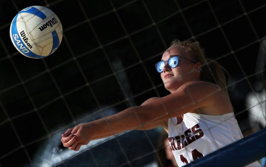 Chiles senior Aly Freeland and the Timberwolves play Lincoln in the 2019 Tallahassee high school beach volleyball championship at Tom Brown Park on May 9, 2019. The Timberwolves swept the Trojans 5-0 to capture their first title.