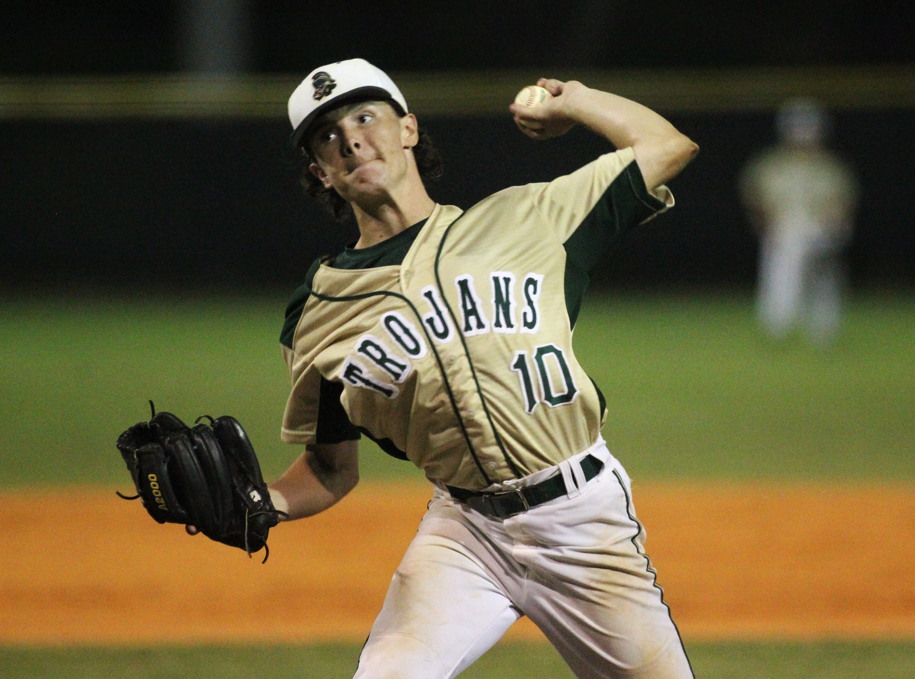Lincoln senior Shawn Snyder pitches as Lincoln baseball beat Chiles 5-4  in 10 innings during a District 2-8A championship game on Thursday, May 9, 2019.
