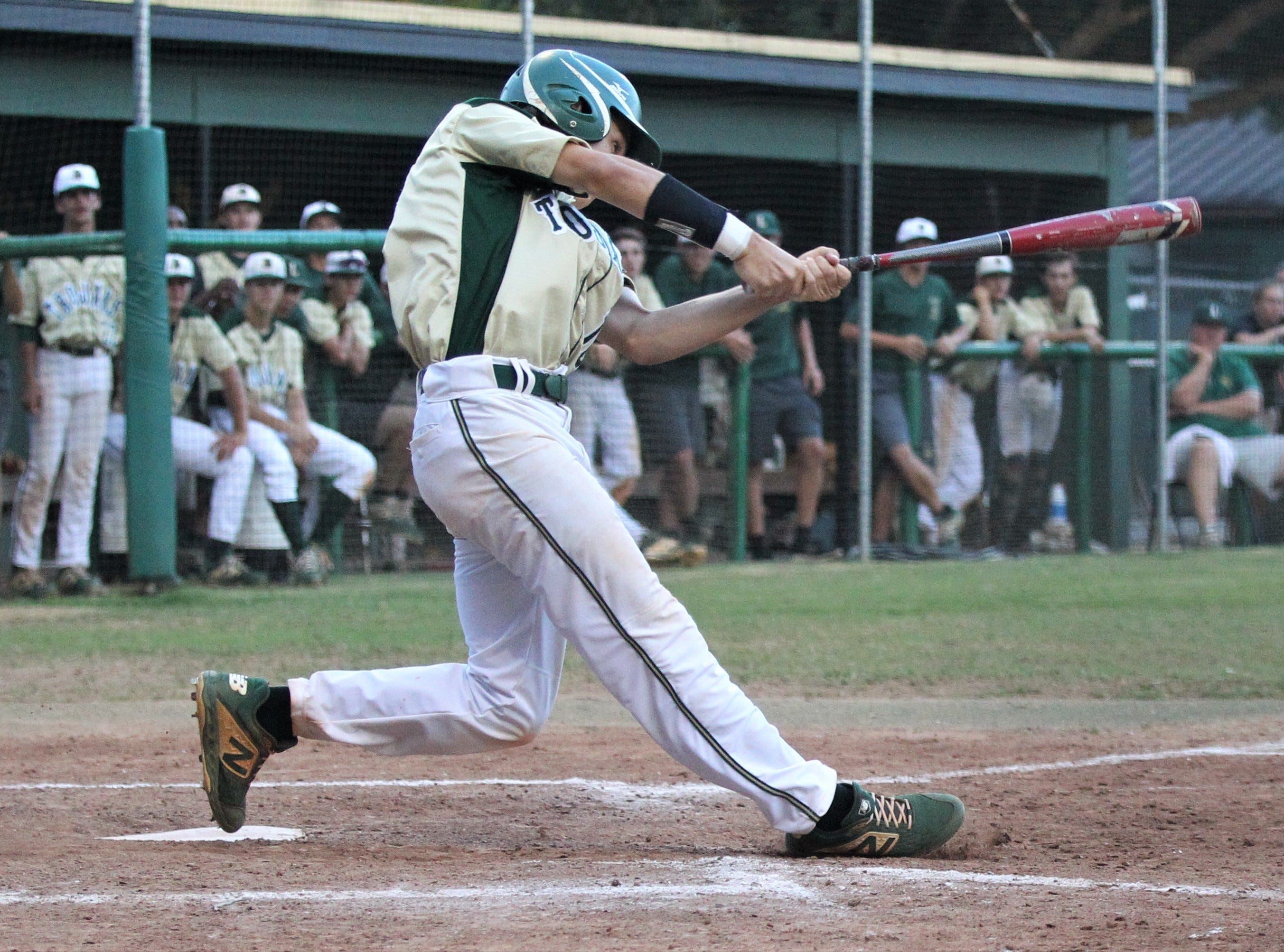 Lincoln senior Shawn Snyder bats as Lincoln baseball beat Chiles 5-4  in 10 innings during a District 2-8A championship game on Thursday, May 9, 2019.