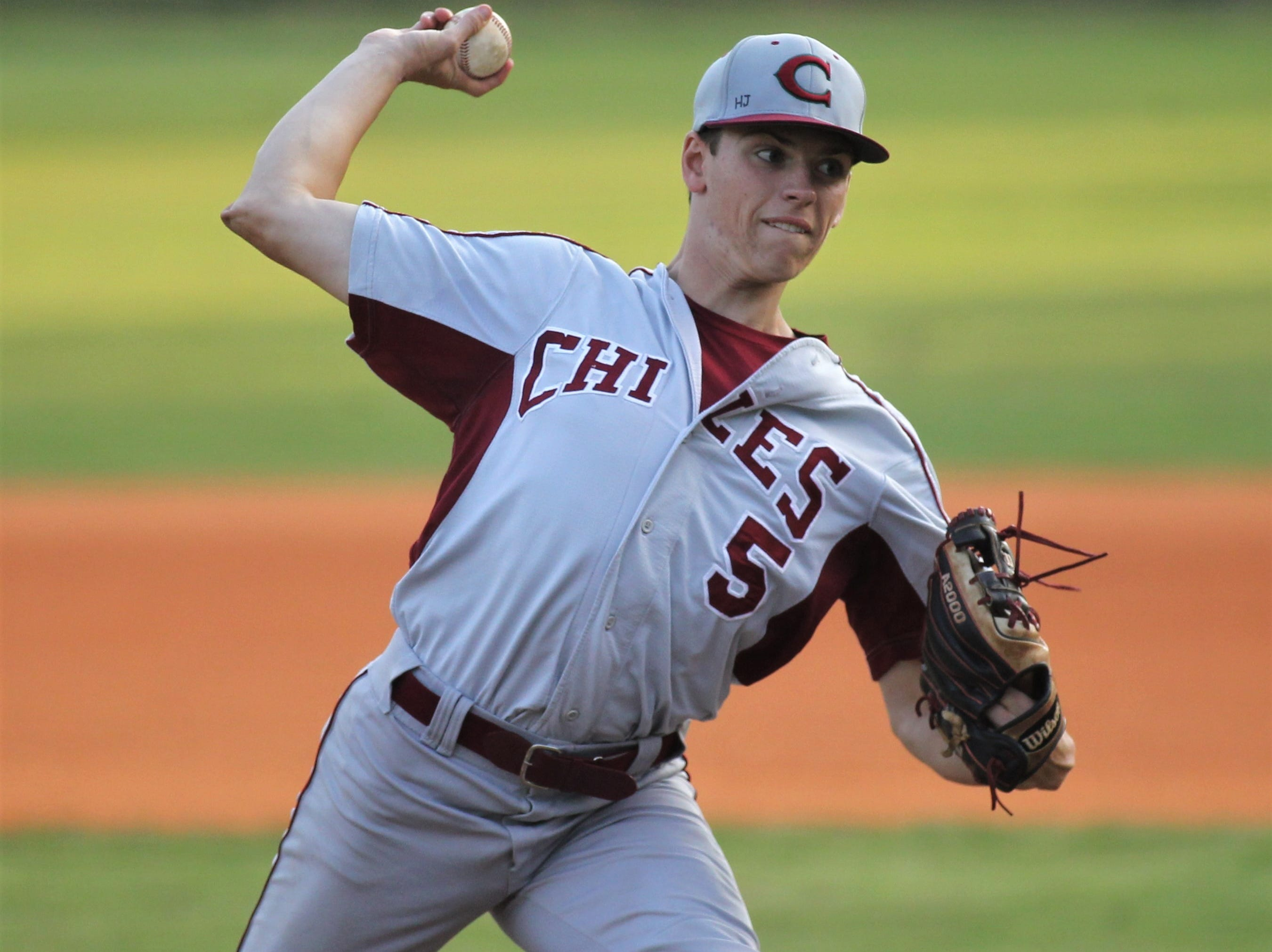 Chiles senior Ben Gurley pitches Lincoln baseball beat Chiles 5-4  in 10 innings during a District 2-8A championship game on Thursday, May 9, 2019.