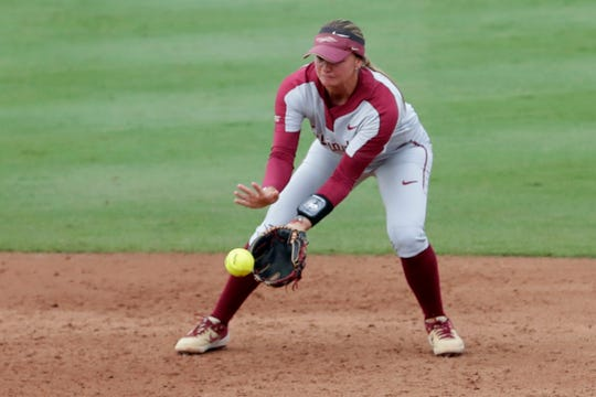 Florida State Seminoles infielder Cali Harrod (10) scoops up a ground ball. The Florida State Seminoles host the Notre Dame Fighting Irish for the ACC Softball Tournament semifinals Friday, May 10, 2019.