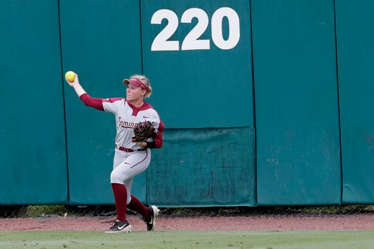 Florida State Seminoles infielder Dani Morgan (1) throws a deep hit back to the infield. The Florida State Seminoles host the Notre Dame Fighting Irish for the ACC Softball Tournament semifinals Friday, May 10, 2019.