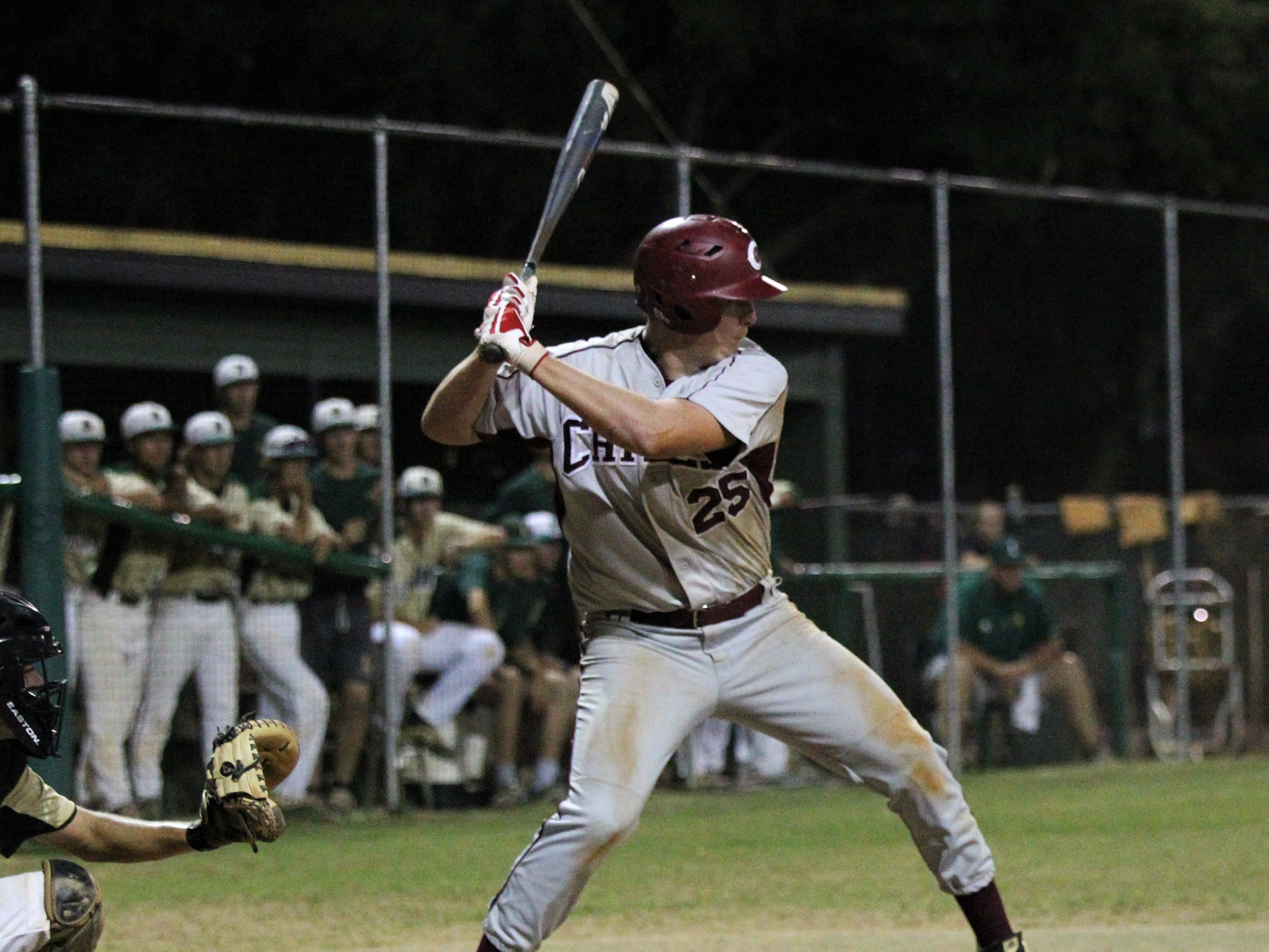 Chiles junior Wyatt Dodd bats as Lincoln baseball beat Chiles 5-4  in 10 innings during a District 2-8A championship game on Thursday, May 9, 2019.