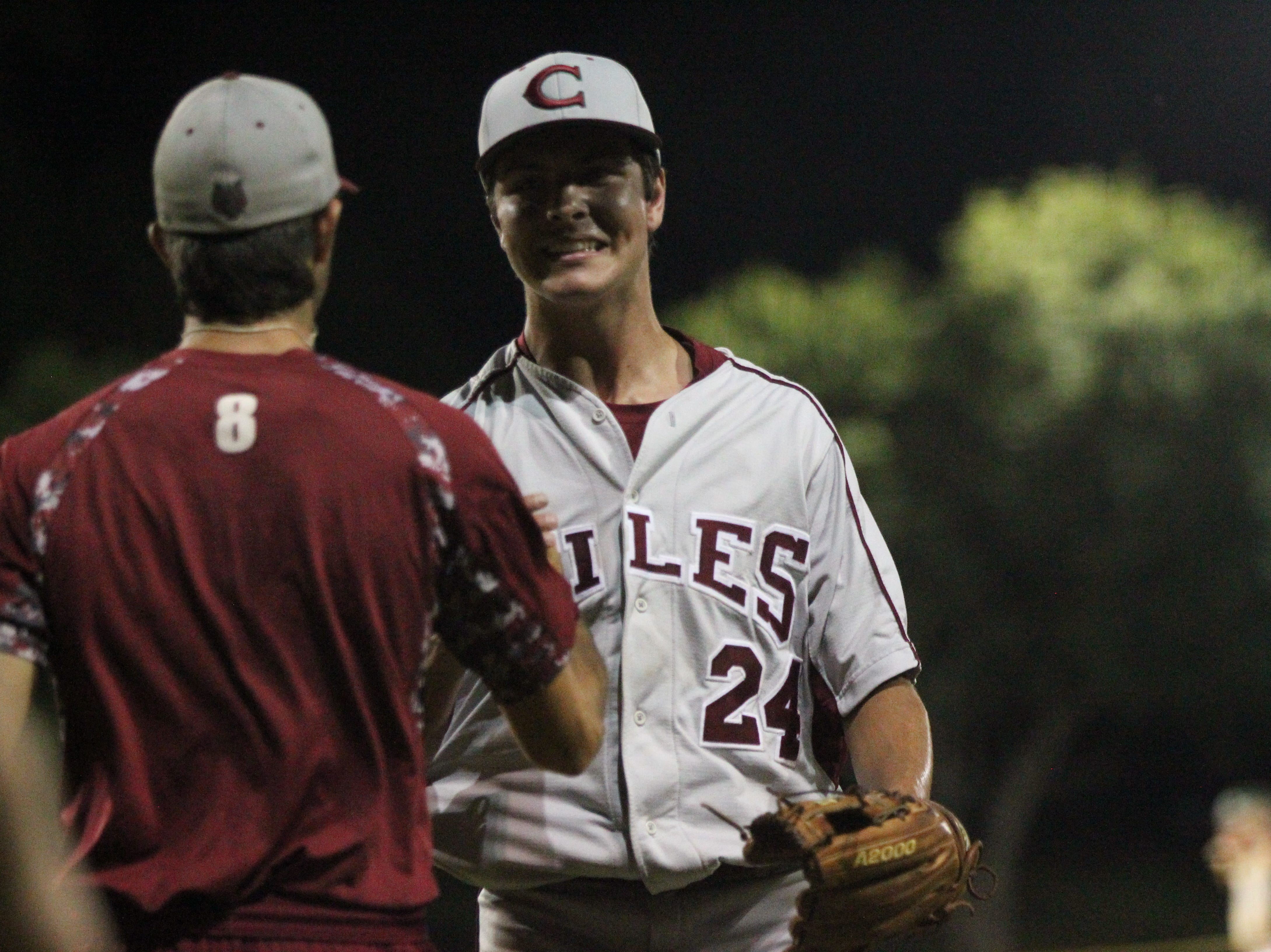 Chiles pitcher Bryson Cooksey reacts after an inning-ending strikeout as Lincoln baseball beat Chiles 5-4 in 10 innings during a District 2-8A championship game on Thursday, May 9, 2019.