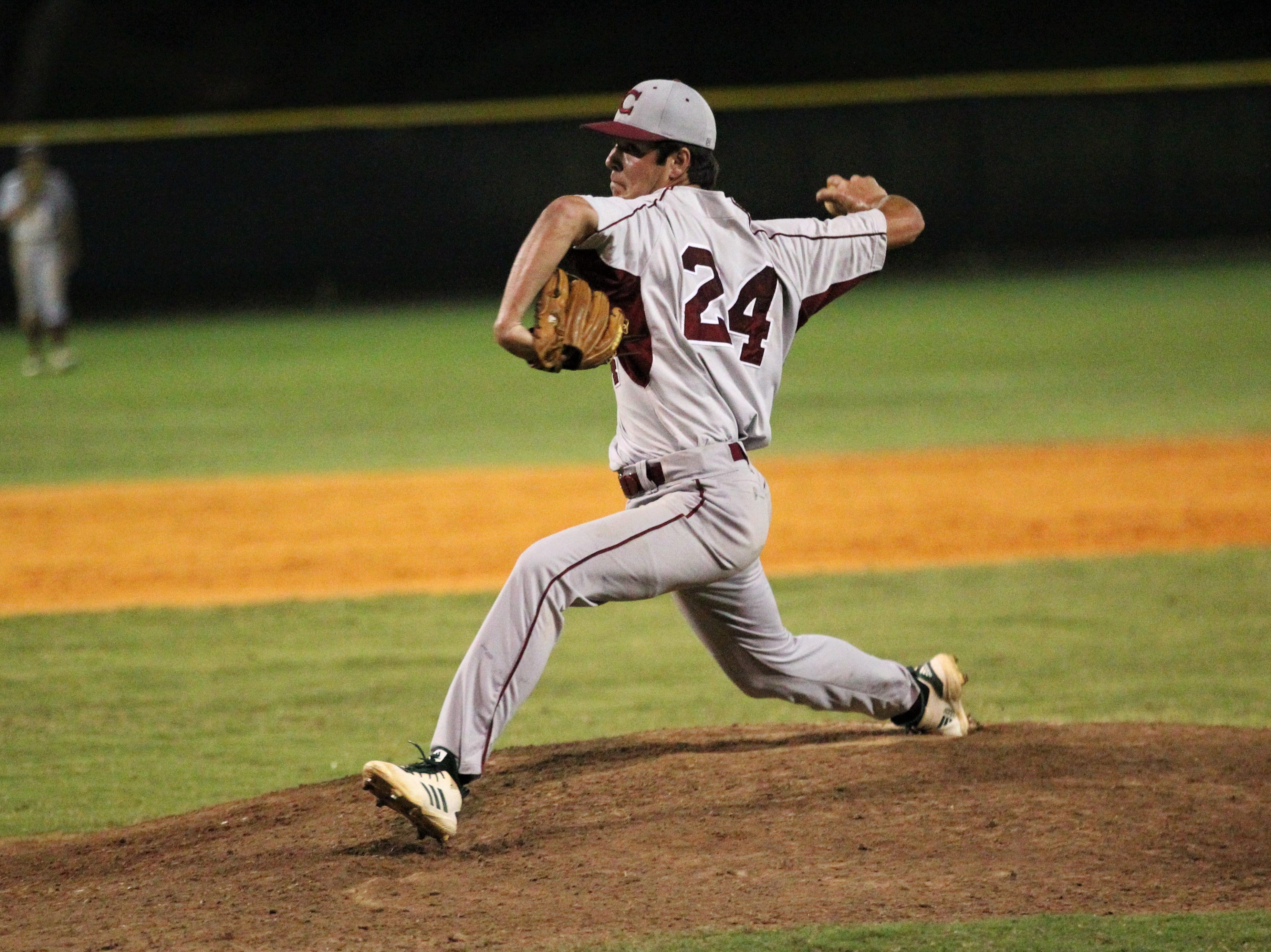 Chiles junior Bryson Cooksey pitches in relief as Lincoln baseball beat Chiles 5-4  in 10 innings during a District 2-8A championship game on Thursday, May 9, 2019.