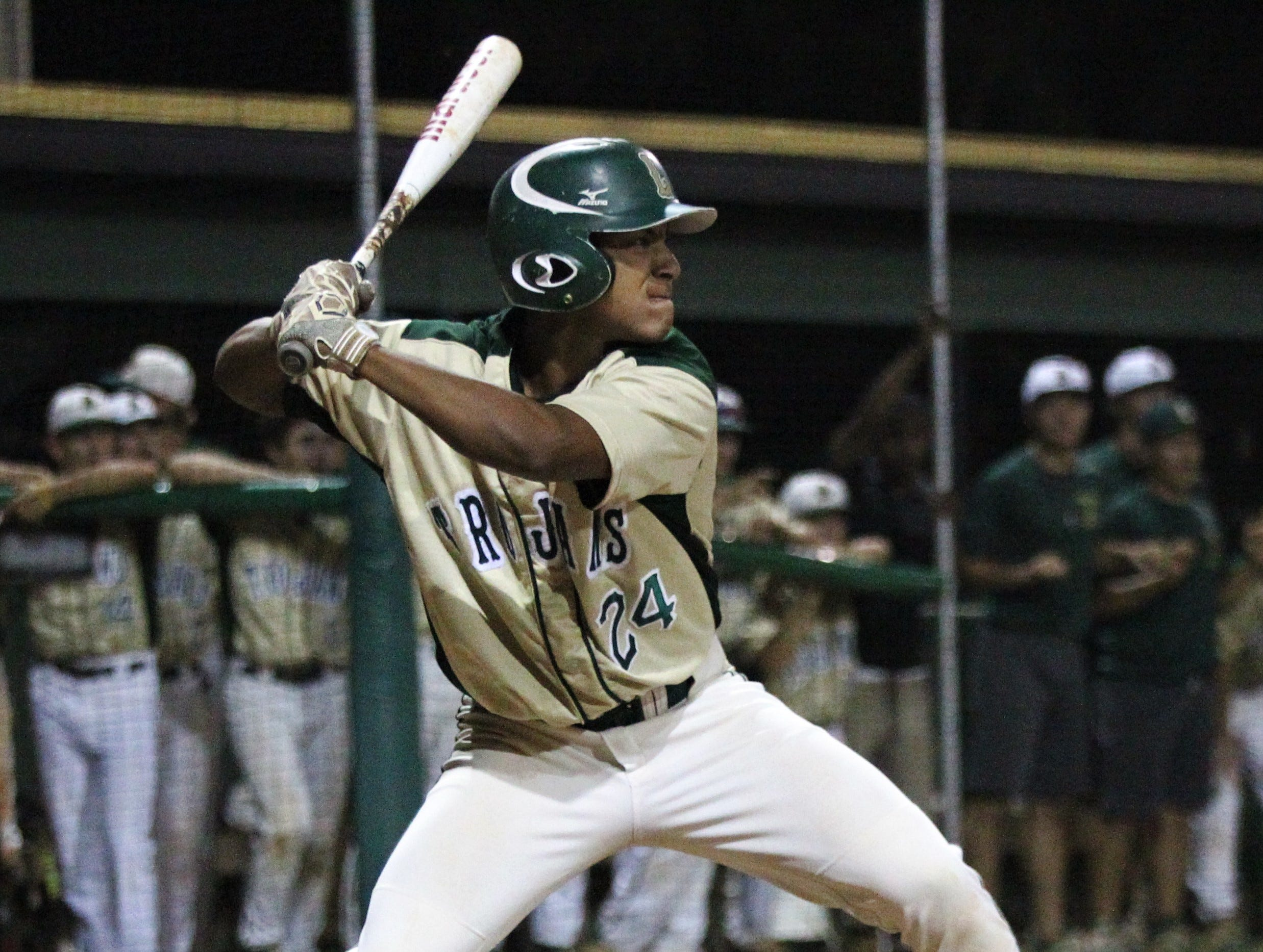 Lincoln sophomore Jayden Burns bats as Lincoln baseball beat Chiles 5-4  in 10 innings during a District 2-8A championship game on Thursday, May 9, 2019.