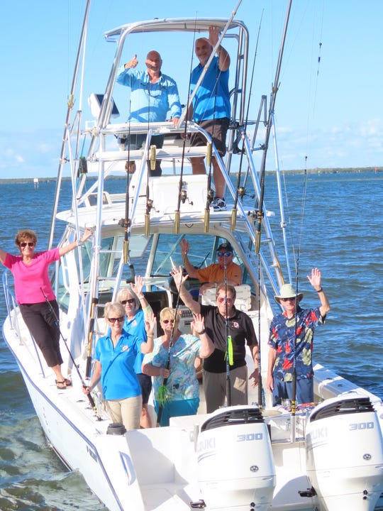 The 2019 Sebastian Blue Water Open Committee on board the Reel Lucky, in the tower, Michael Natale and Bill Middleton; at the wheel, Capt. Steve McElveen; and Karen McElveen, left, Eva Chapman, Diana Best,  Kathy Burns, Rick Giteles and Warren Dill.