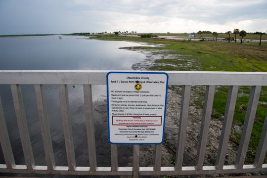 The low water level of Lake Okeechobee can be seen Tuesday, May 7, 2019, at Port Mayaca, the Rim Canal and the Lock 7/Jaycee Park Fishing & Observation Pier in Okeechobee County. County commissioners from Martin, Palm Beach, Glades, Hendry and Okeechobee attended a joint commission meeting later at Okeechobee High School, where stakeholders voiced their concerns following statements from the Army Corps of Engineers and Rep. Brian Mast's office.