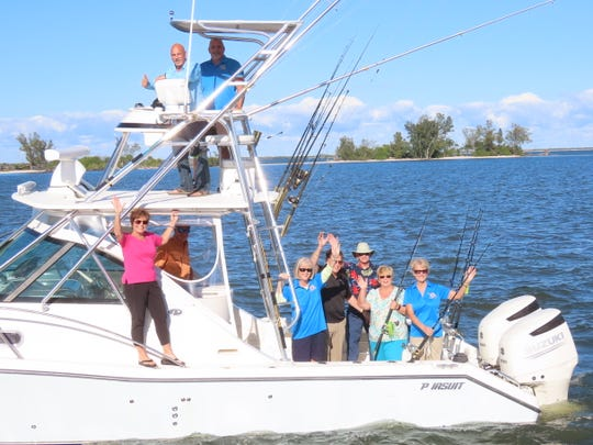 2019 Sebastian Blue Water Open Committee testing the waters for the tournament, in the tower, Michael Natale and Bill Middleton; below, from left, Karen McElveen, Capt. Steve McElveen, Diana Best, Rick Giteles, Warren Dill, Kathy Burns and Eva Chapman.