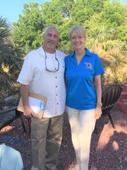 2019 Sebastian Blue Water Open Committee Chairperson Eva Chapman, right, with Co-Chair Michael Natale. The 26th annual charity tournament is May 31 to  June 1 from Capt. Hiram's.