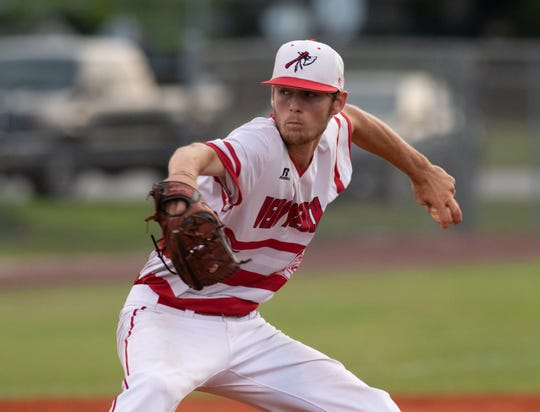 Vero Beach pitcher Hunter Patteson throws a pitch during the District 7-9A championship game on May 9, 2019 at Vero Beach High School.