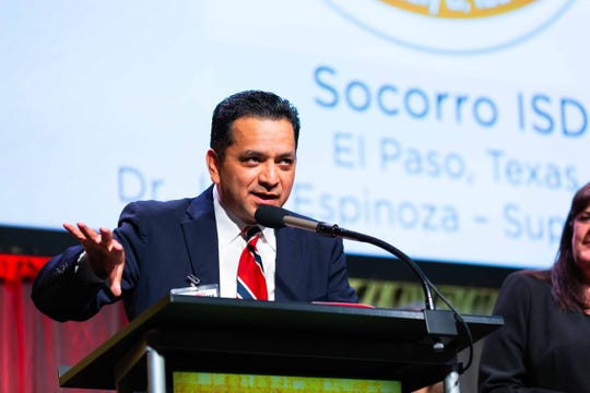 Socorro Independent School District Superintendent José Espinoza gives a speech after the district won the 2019 H-E-B Excellence in Education award in the large school district category.