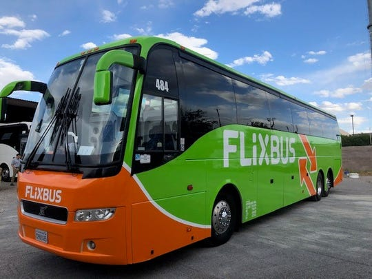 The bus that will serve the FlixBus route from El Paso to Phoenix is parked at Intermex Transportation's East El Paso facility. Europe's largest long-distance bus company has launched service in El Paso.