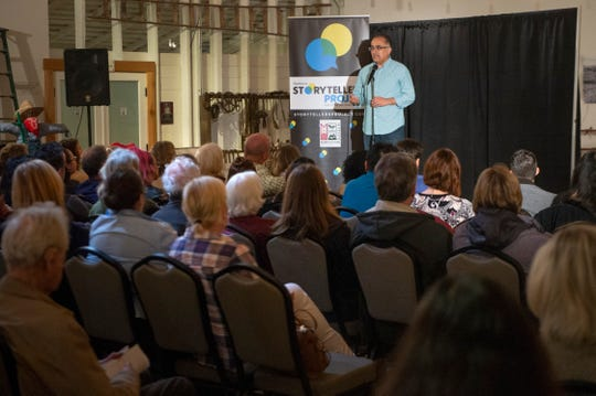 "Daniel Sandoval shares his story of raising a child with special needs during the Ventura Storytellers Project event at the Museum of Ventura County Agriculture Museum on May 9. The theme of the night was ""Away We Go."""
