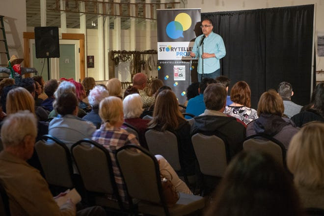 """Daniel Sandoval shares his story of raising a child with special needs during the Ventura Storytellers Project event at the Museum of Ventura County Agriculture Museum on May 9. The theme of the night was """"Away We Go."""""""