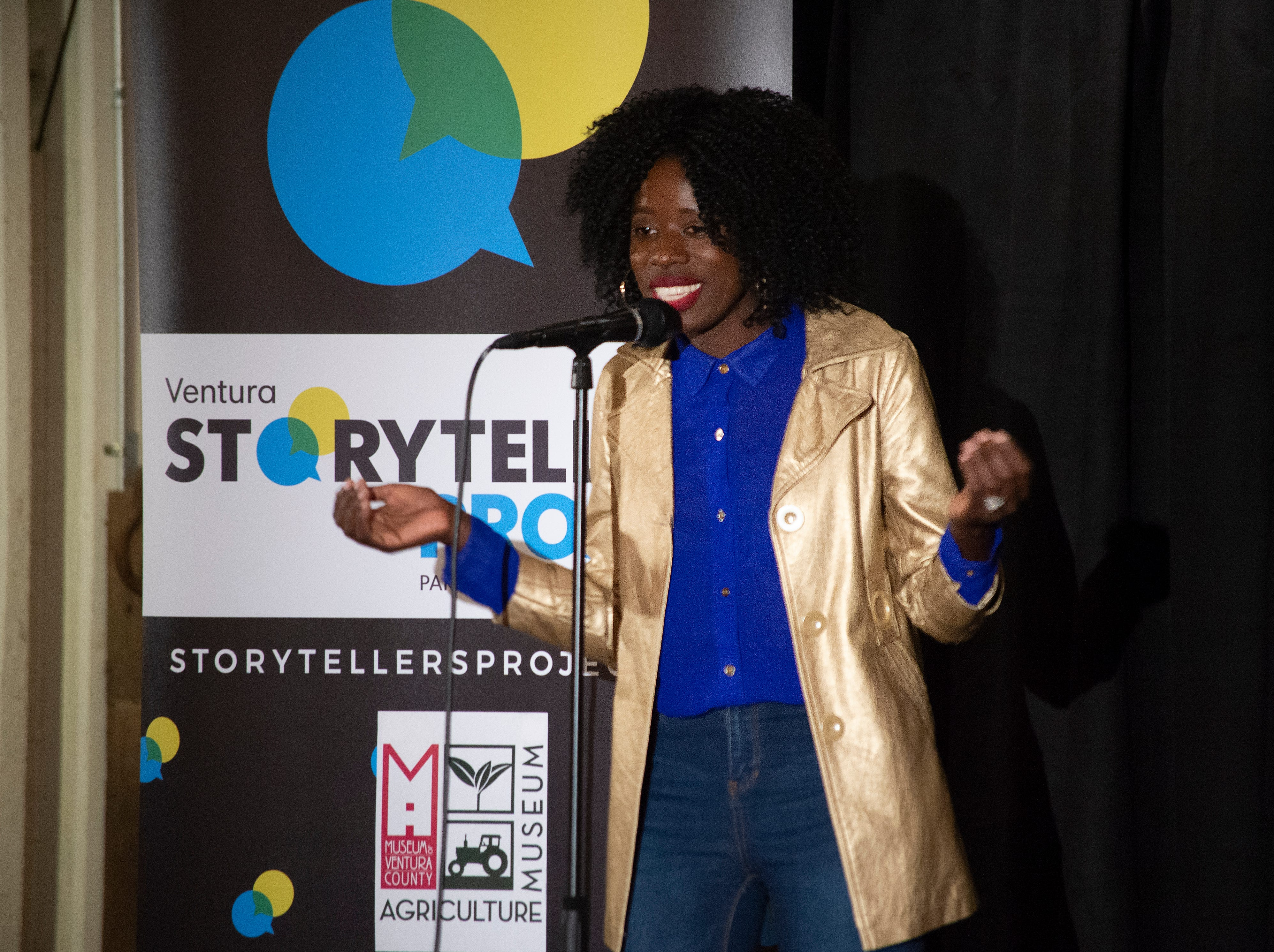 Shakira Nanyonjo takes the audience on a journey from Uganda to Thousand Oaks during the Ventura Storytellers Project event at the Museum of Ventura County Agriculture Museum on Thursday. The theme of the night was Away We Go.