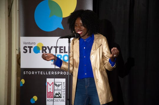 "Shakira Nanyonjo takes the audience on a journey from Uganda to Thousand Oaks during the Ventura Storytellers Project event at the Museum of Ventura County Agriculture Museum in May 2019. The theme of the night was ""Away We Go."""