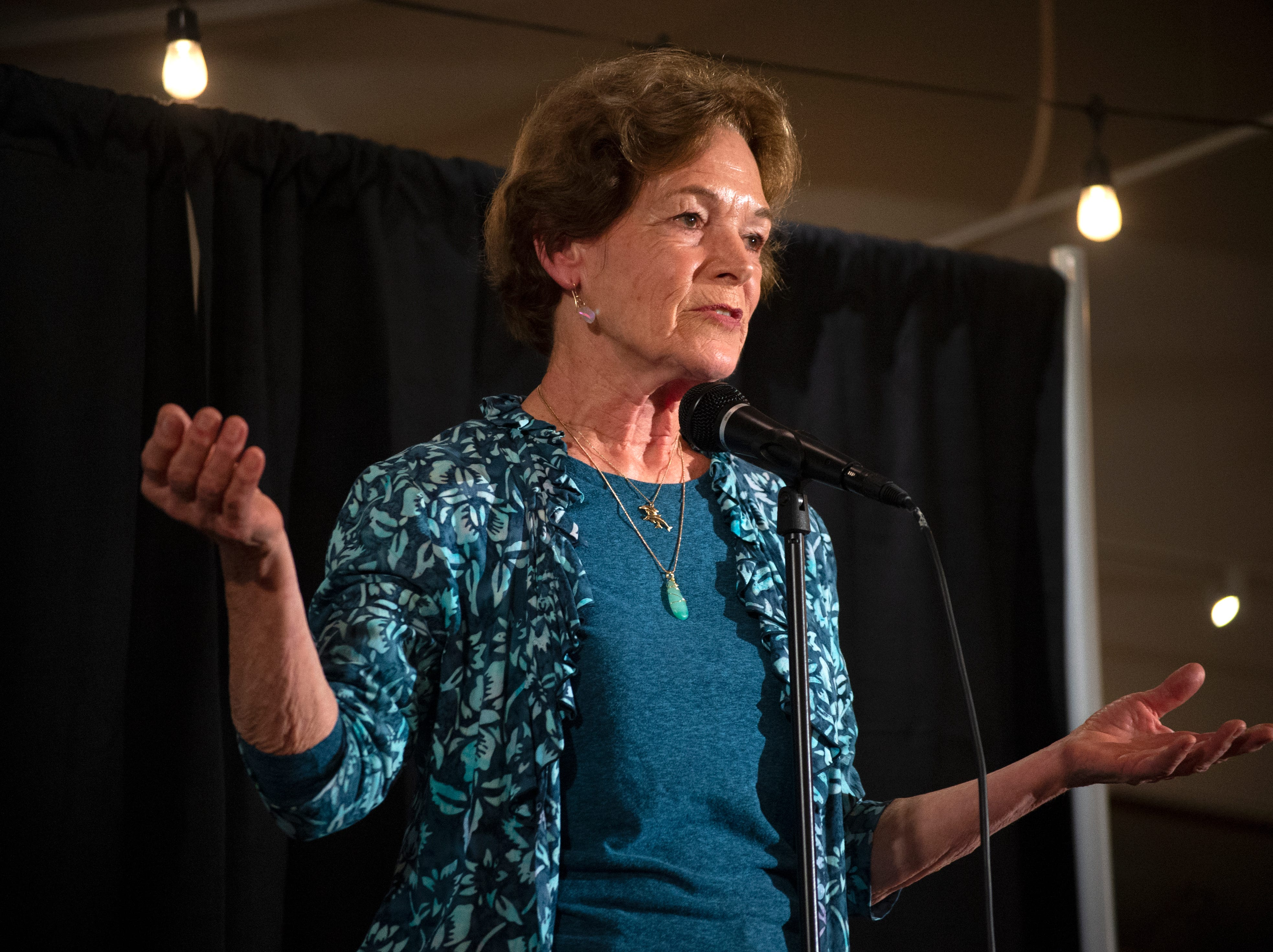 """Susanne Lammot shares a story of a unique adventure across the ocean during the Ventura Storytellers Project event at the Museum of Ventura County Agriculture Museum on Thursday. The theme of the night was """"Away We Go."""""""