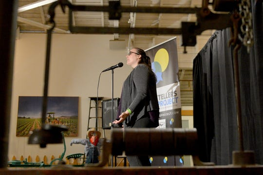 """Star reporter Megan Diskin shares a story of a trip to Egypt as a young girl during the Ventura Storytellers Project event at the Museum of Ventura County Agriculture Museum on Thursday. The theme of the night was """"Away We Go."""""""