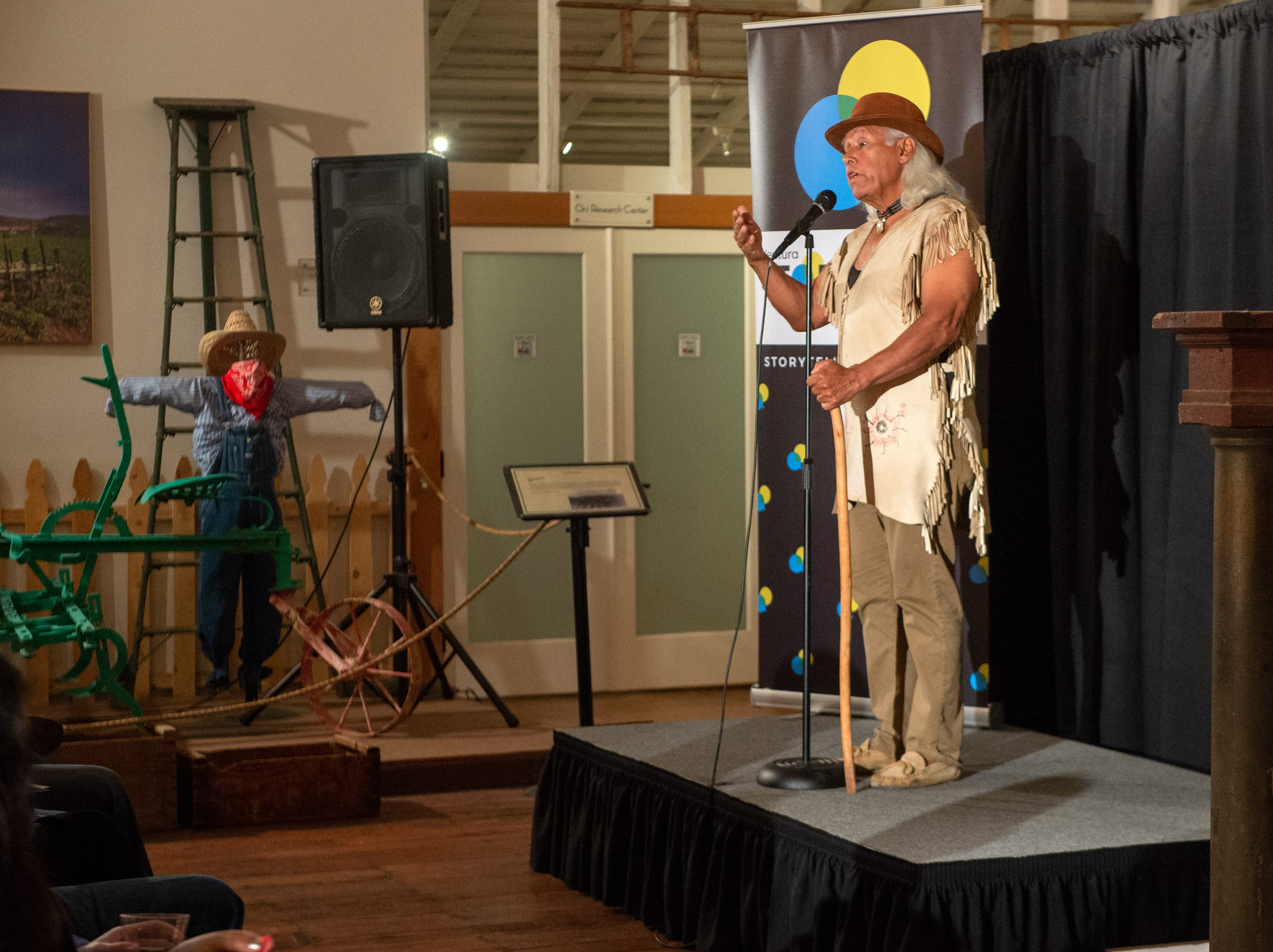 """Alan Salazar shares his tale of reconnecting with the past and creating a new legacy during the Ventura Storytellers Project event at the Museum of Ventura County Agriculture Museum on Thursday. The theme of the night was """"Away We Go."""""""