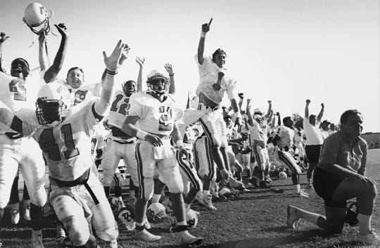 Dick James, right, who was Ventura College football's winningest coach when he retired in 1992, will be inducted into the VC Athletic Hall of Fame on May 19 at the Crowne Plaza Ventura Beach.
