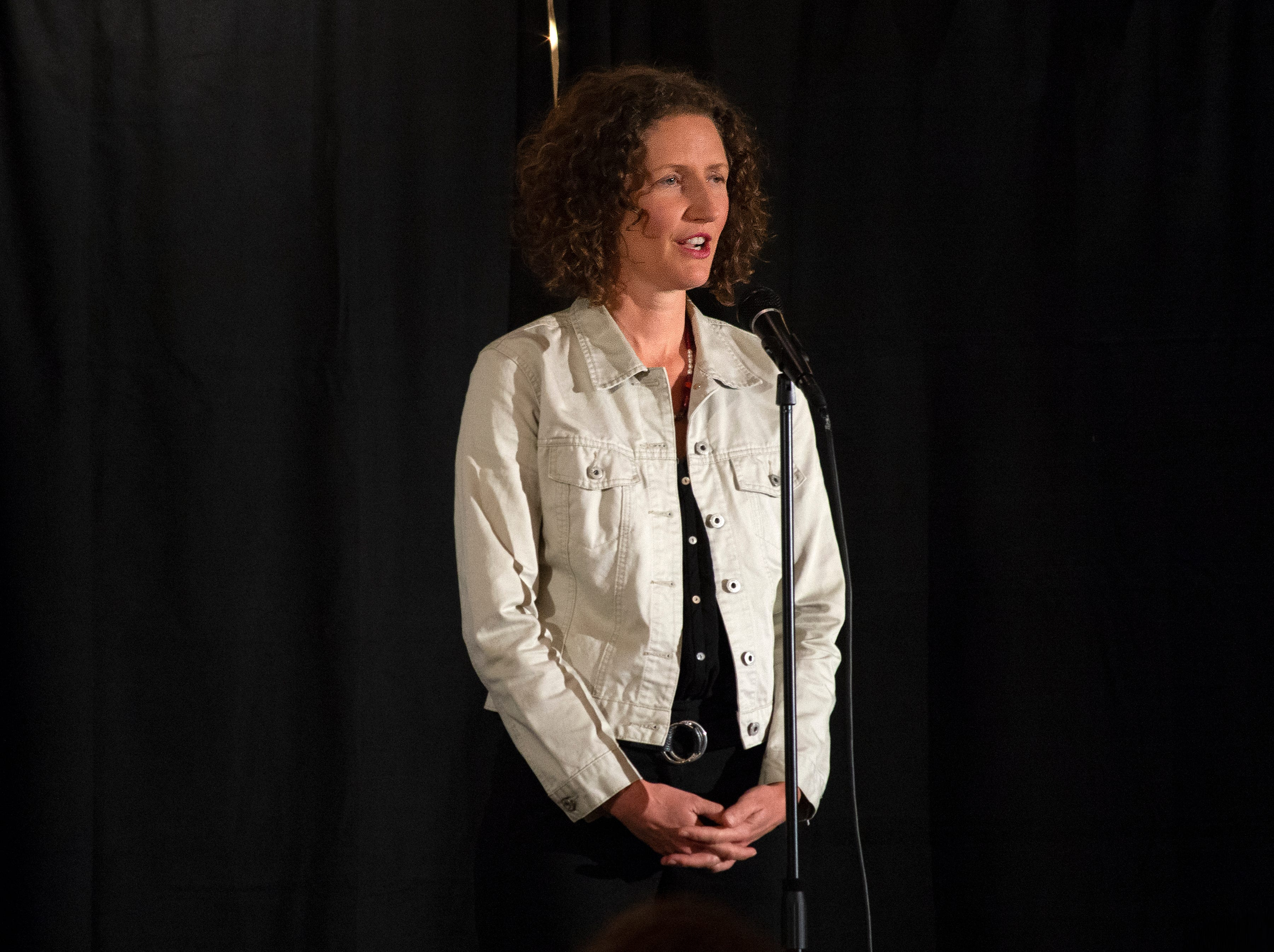 """Sushila Wood shares a story about love transcending time and distance during the Ventura Storytellers Project event at the Museum of Ventura County Agriculture Museum on Thursday. The theme of the night was """"Away We Go."""""""