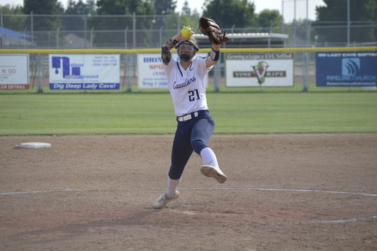 Central Valley Christian's Rylie Atherton pitches against California City on Thursday in a Central Section Division VI softball playoff game.