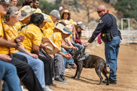 """Woodlake police officer Chris Marx shows his K-9 Lea after a demonstration during Woodlake Rodeo's first """"High-Five Rodeo"""" on Friday, May 10, 2019. Participants from Exeter's Center for Discovery and Learning were paired up with real-life cowboys and cowgirls and other performers to experience modified rodeo-related stations in the rodeo arena."""