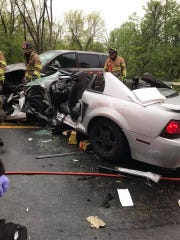 A crash closed Route 118 in Yorktown on May 10, 2019.