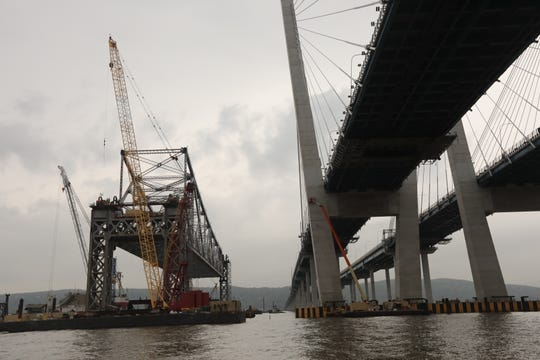 The Tappan Zee Bridge is slowly lowering onto a barge in the Hudson May 10, 2019. The process started yesterday and by 11:30 a.m. Friday had been lowered about 35 to 40 feet. It will take a couple of days for it to be completed.