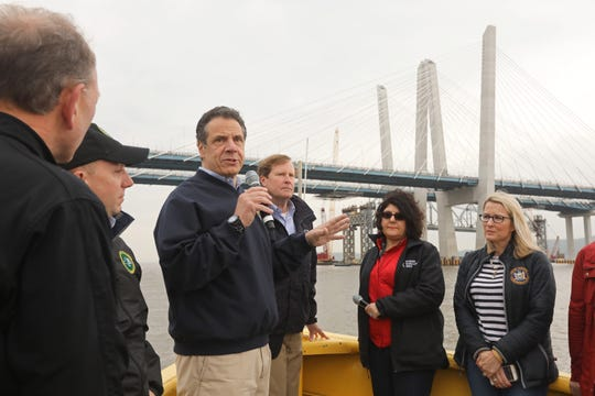 Gov. Andrew Cuomo briefs media and officials on the Gov. Mario M. Cuomo Bridge and the dismantling of the Tappan Zee Bridge during a boat tour May 10, 2019.