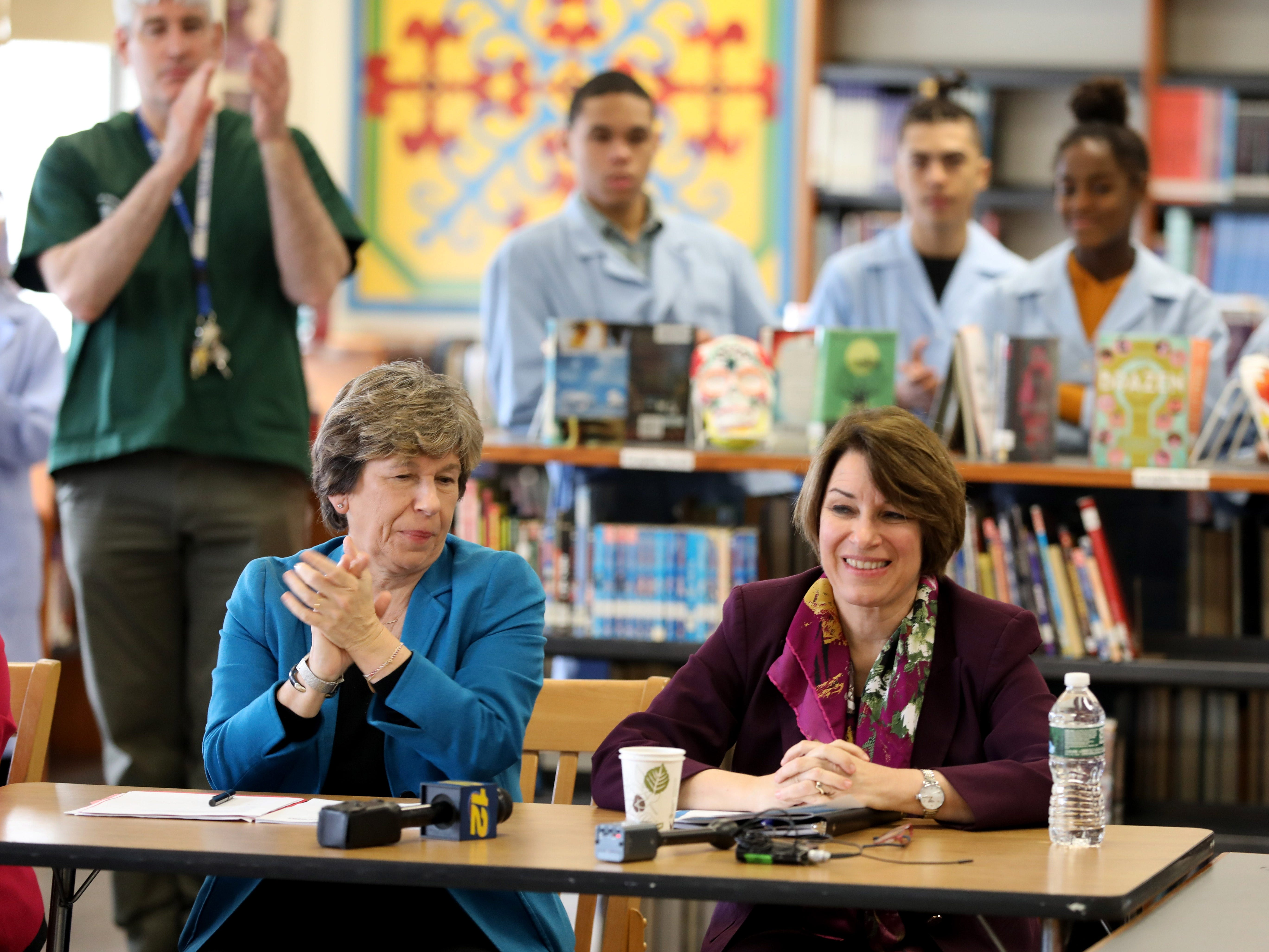 Randi Weingarten, left, the president of the American Federation of Teachers and U.S. Sen. Amy Klobuchar (D-Minn.), a Democratic presidential candidate, attend a school tour at Gorton High School in Yonkers, May 10, 2019.
