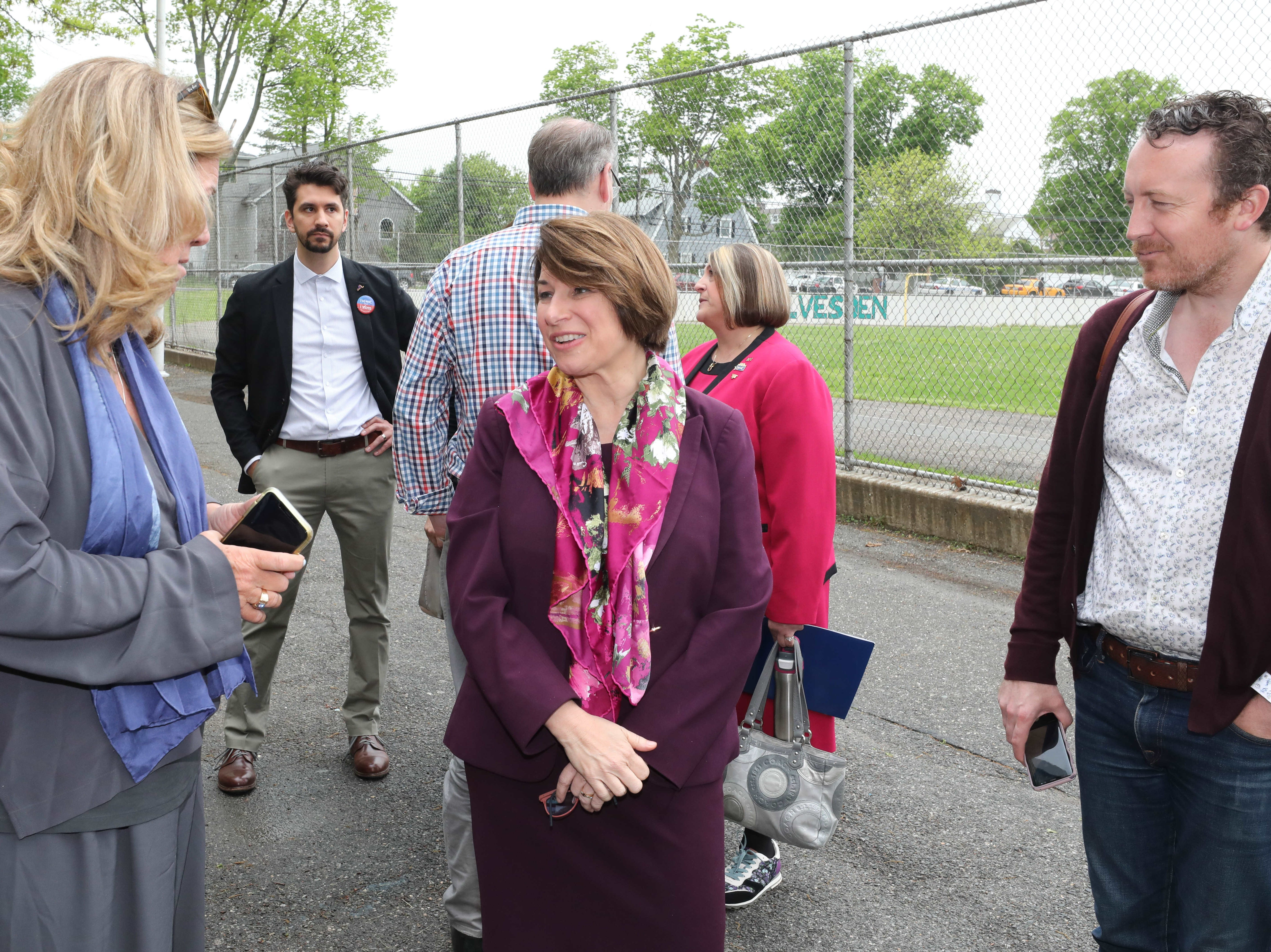 U.S. Sen. Amy Klobuchar (D-Minn.), a Democratic presidential candidate, greets people outside of Gorton High School in Yonkers, May 10, 2019.