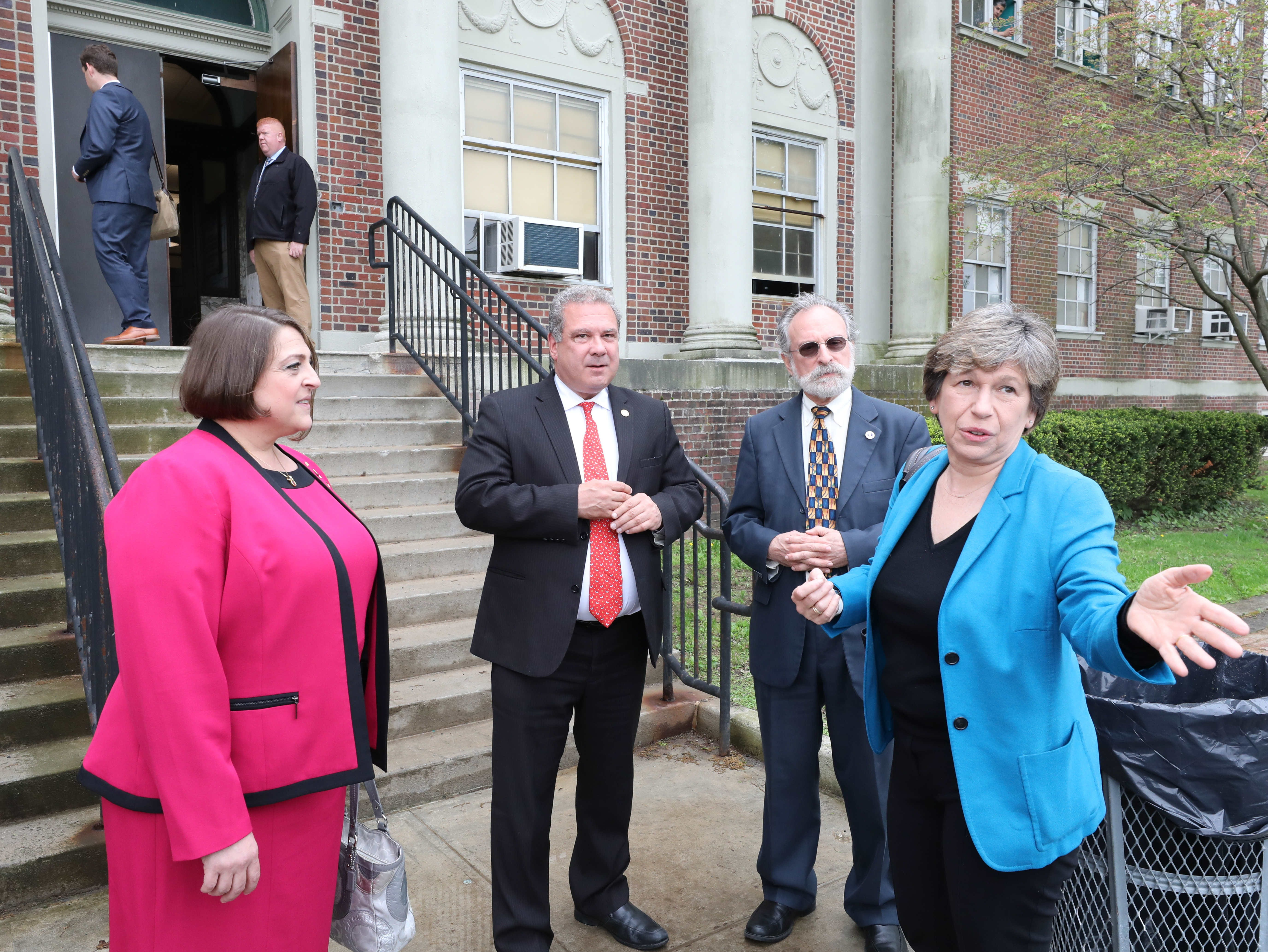 Samantha Rosado-Ciriello, Yonkers Federation of Teachers president; Yonkers Mayor Mike Spano; Yonkers City Council Majority Leader Michael Sabatino and Randi Weingarten, the president of the American Federation of Teachers, attend a school tour at Gorton High School in Yonkers, May 10, 2019.