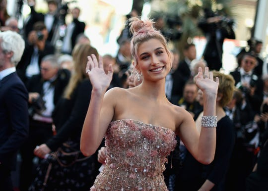 "CANNES, FRANCE - MAY 12:  Hailey Baldwin attends the screening of ""Girls Of The Sun (Les Filles Du Soleil)"" during the 71st annual Cannes Film Festival at Palais des Festivals on May 12, 2018 in Cannes, France.  (Photo by Antony Jones/Getty Images)"