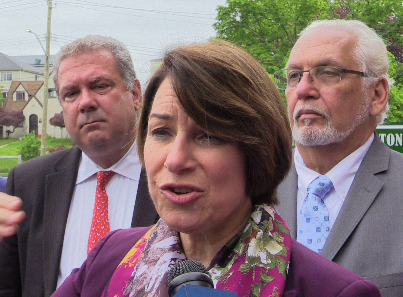 U.S. Sen. Amy Klobuchar (D-Minn.), a Democratic presidential candidate, delivers remarks after a tour of Gorton High School in Yonkers, May 10, 2019.