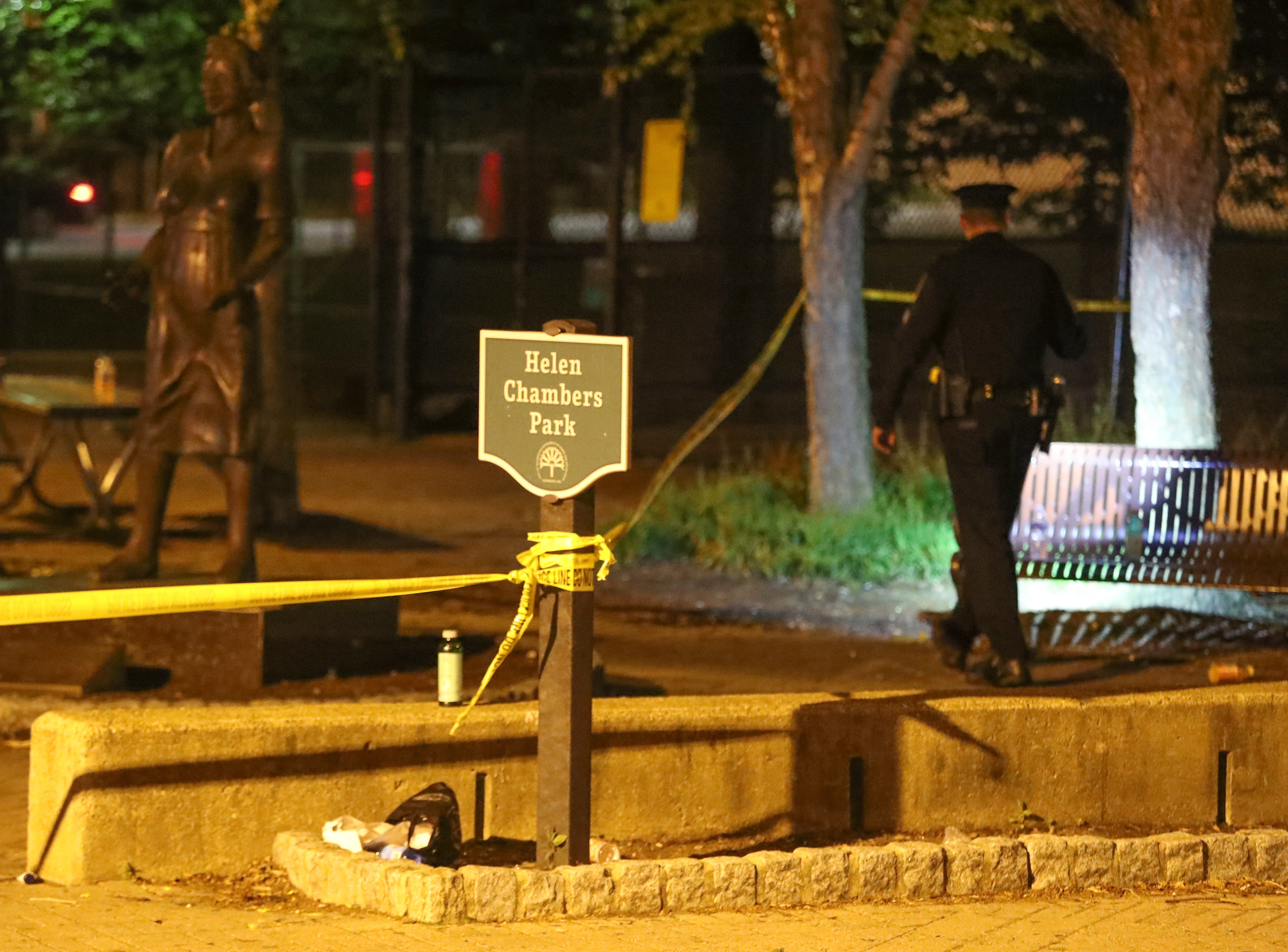 Wilmington police investigate in Helen Chambers Park after a shooting was reported about 10 p.m. Thursday on N. Madison Street. Police had taped off Madison Street from W. 4th Street to W. 7th Street but concentrated in the 600 block in and along the park.