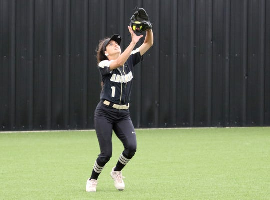 Archer City's Delaini Hanna catches the flyball against Haskell Thursday, May 9, 2019, in Graford.