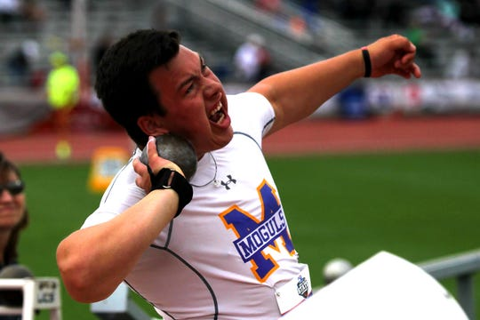 "Munday's Kaven Lumsden throws in the A boys shot put   Kaven brought home the gold with a throw of 57'1.5""."