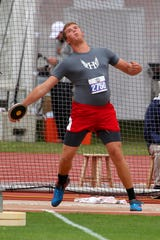 Holliday's Konner Wood throws in the3A boys discus . Konner brings home the silver with a throw of 159-5.