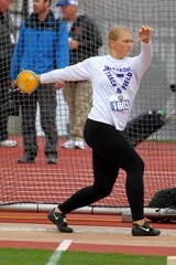 Jacksboro's Baylee Thompson throws in the 3A girls discus Friday, May 10, 2019, in the UIL State Track & Field championships in Austin.
